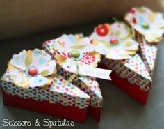 """I wanted to share with you these cute little """"Easy as Pie"""" boxes I made as a make and take a few months ago. The box was cut using Lifestyle Crafts' dessert box die cut. You use the die to cut the paper of your choice. I used one of my favorite Stampin' Up! designer series papers, Summer"""