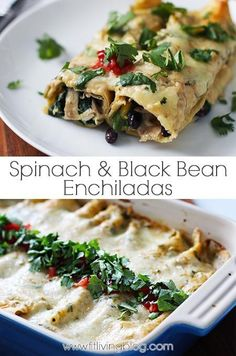 Looking for a healthy recipe for Mexican (Meatless) Monday? Get the recipe for these easy to make Spinach and Black Bean Enchiladas (chicken is optional) by clicking through! #recipe #healthy