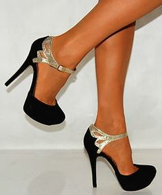Shoe Lust / BLACK SUEDE GOLD SNAKE PRINT STRAPPY SANDALS PARTY PLATFORMS HIGH HEELS SHOES |Black Heels|