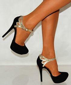 Shoe Lust / BLACK SUEDE GOLD SNAKE PRINT STRAPPY SANDALS PARTY PLATFORMS HIGH HEELS SHOES |Black Heels|