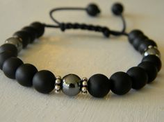 Mens Sterling Silver Onyx Hematite Bracelet by CaldasBijoux, $35.00