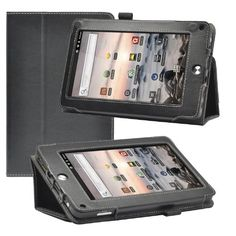Poetic Slimbook Leather Case for the Coby Kyros MID7042 7 Inch Tablet Black (Included 2 Micro SD Card Slots) (Business Card Holder is Plus) (3 Year Manufacturer Warranty From Poetic)