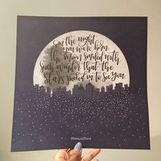 This Nancy Tillman quote from the much beloved story book On the night you were born has been handlettered by me onto this beautiful moon print paper from American Crafts which is 12x12 inches. This print is best framed and would look wonderful in a childs nursery. Each piece is lettered by hand and therefore may vary slightly from the one pictured.  SHIPPING: All items ship from between 3-5 days of receiving your order. From the date of shipping please allow up to 4 working days for UK…