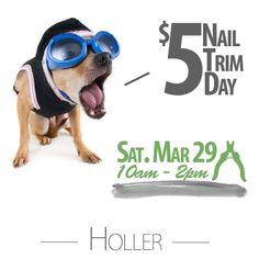 $5 Nail Trim Saturday March 29th!