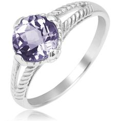 $19.99 - 1.5 Carat Amethyst Sterling Silver Cushion Cut Cable Design Ring