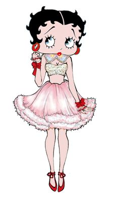 Betty Boop dressed in pink and red! #cartoons #illustration ✿⊱╮