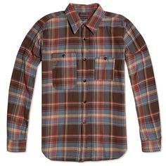 Engineered Garments Work Shirt (Brown & Blue Cotton Plaid)