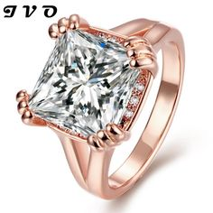 Wedding jewelry High Quality Nickle Free Antiallergic Jewelry 24K Plated zircon Ring Bridal Jewelry big stone ring