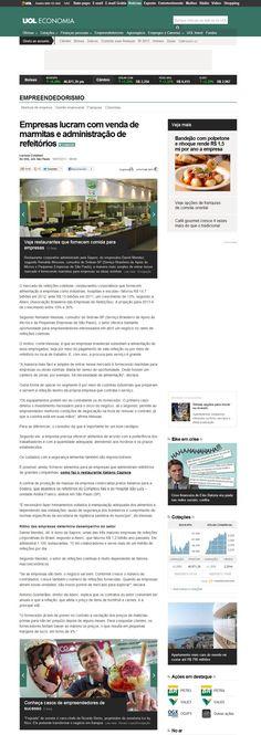 Título: Empresas lucram com venda de marmitas e administração de refeitórios; Veículo: Portal UOL;  Data: 14/07/2013;  Cliente: Sapore.