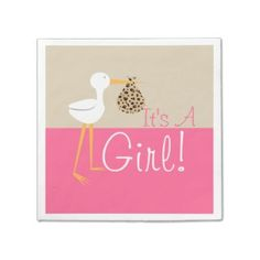 Stork with Leopard Bundle Girl Baby Shower Napkins Standard Cocktail Napkin now 40% Off | 40% of all Invites, Labels & More! 15% Off Everything Else!  Use Code: GIFTSFORBABY