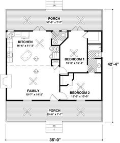 2 Bedroom House plans Square Feet feet 2 bedrooms 2