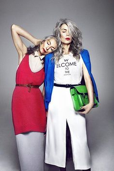 Fashion shoots / Editorial. Just love this fashion spread featuring to older models for The Guardian.Natural grey hair on women is beautiful. Model showing that grey hair is lovely and can look good on anyone who may be brave enough.