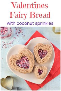 Cute heart shaped fairy bread sandwiches for Valentines Day with homemade coconut sprinkles - fun Valentines food for kids Fairy Bread, Valentines Hearts, Valentines Day Treats, Valentine Ideas, Food Art For Kids, Cooking With Kids, Cute Food, Good Food, Yummy Food