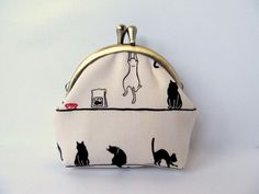 Coin purse wallet  Neutral Red Black cat White by LuckyCatHandmade, €13.00