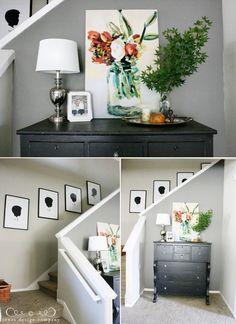 Beautiful hall table with gorgeous painting. Love the grey paint color too.