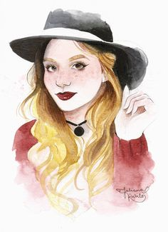 Comissioned watercolor portrait of Julia Pernambuco. Juliana Rabelo © 2015. All rights reserved.