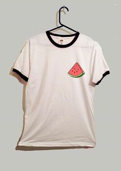 Watermelon slice ringer tshirt cute food fruit by GreyWavesPrint