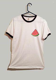 Watermelon slice ringer tshirt cute food fruit by GreyWavesPrint
