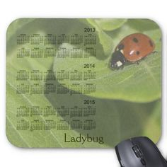 3 Year 2013-2015 Ladybug Calendar Mousepad Design by Just For Mom
