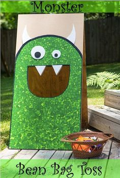 Monster Party Bean Bag Toss This would be really cool to make it for Jonah and the whale. Instead of the monster, we make the whale.