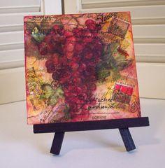 My Amazing Sister's Art!!  Wine Grape Harvest 4x4 Encaustic Mixed Media by NaturesWalkStudio