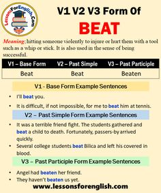 Form Example, Present Perfect, Irregular Verbs, English Verbs, Past Tense, Prepositions, How To Know, Sentences, Beats