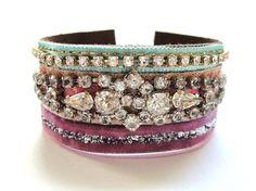 Rhinestone cuff bracelet in pastel pink and mint  by OOAKjewelz