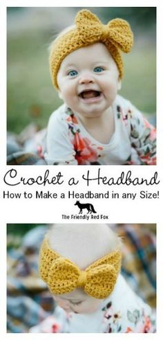 Have you ever wanted to crochet a headband in any size? This would look darling on a little baby, but still so cute on an adult! Have you ever wanted to crochet a headband in any size? I have some tips and tricks so that you can! Bonnet Crochet, Crochet Diy, Crochet Beanie, Crochet Gifts, Crochet For Kids, Crochet Hats For Babies, How To Crochet, Things To Crochet, Crochet Turban