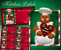 "Gingerbread Girl ""Gingerbread Heart"" Kitchen Labels - Digital Download by DinkyPrints"