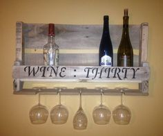 Wine:Thirty Script Small Reclaimed Wood Pallet Wine Rack with Wine Glass Holder White Wash on Etsy, $35.00
