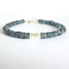 Kyanite Bracelet with Hill Tribe Silver / Reiki Jewelry / Blue Kyanite Bracelet…