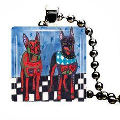 Min Pin Miniature Pinscher Pendant Necklace Doberman Pinscher Dog Modern Art