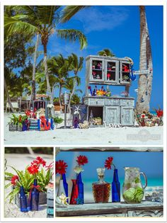 Cute blue glass bottles, red Gerber daisies, cartoon-like anchors, fishnets and crates,  can turn your destination beach wedding into a real nautical fairytale.