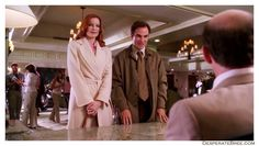Bree Van De Kamp and George at hotel long beige tan peach pale pastel colored coat trench belt tie waist handbag silk scarf Desperate Housewives outfit clothes style fashion season 2 Bree Van De Kamp, Desperate Housewives, Tans, Classic Style, Brie, Coat, How To Wear, Outfits, Clothes