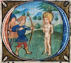 [Priflythyren: Sebastian Sant] (f. 58) Book of Hours 'De Grey', 15th century.
