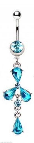 Belly Ring Teardrops Blue Gemmed Fancy Dangle Naval Steel Body Jewelry