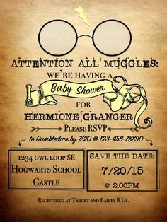 Personalized Harry Potter Theme Invitation by YouandIHandmadeGifts