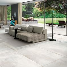 Concrete Recessed Concrete Interior Bodenfliese Rectified Natural Grey, Monocibec One Kollektion, Living Room Wall Units, Living Room Flooring, Modern Flooring, Grey Flooring, Floors, Victoria House, Grey Floor Tiles, Concrete Interiors, New Kitchen Designs