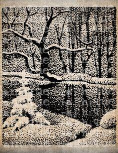 Antique Snow Woods Romantic Winter Christmas by AntiqueGraphique