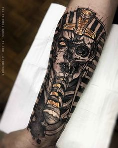 "Explore creative board ""Egyptian Tattoos"" on creativetatto. See more ideas about Egyptian tattoo, Tattoos and Egypt tattoo. Anubis Tattoo, Osiris Tattoo, Horus Tattoo, Scary Tattoos, Skeleton Tattoos, Skull Tattoos, Forearm Tattoos, Cool Tattoos, Maori Tattoos"