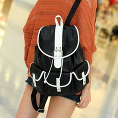 Contrast-Trim Buckled Backpack from #YesStyle <3 SO Central YesStyle.com