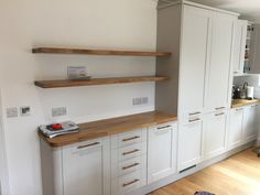 Oak floating shelves, thick to match existing worktops Floating Shelves Kitchen, Work Tops, Joinery, Kids Furniture, Carpentry, Kitchen Cabinets, Future, Home Decor, Carving
