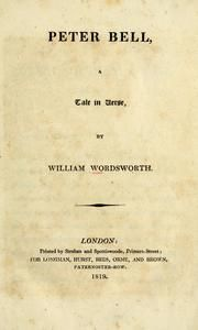 Peter Bell: A Tale in Verse : William Wordsworth , George Howland ...