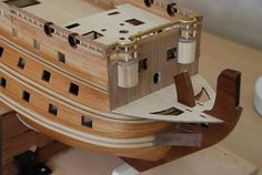 The Construction Of The San Felipe Ballustrading And Side Rails Wooden Model Boats, Model Ship Building, Decorative Mouldings, Model Ships, Masking Tape, Abs, Construction, The Unit, Modeling