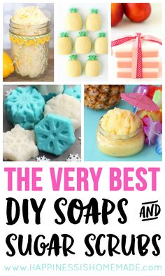 These quick, easy, and inexpensive DIY soaps and sugar scrub recipes are the best! They make fantastic homemade gift ideas - perfect for the holidays! Soap Making Recipes, Homemade Soap Recipes, Homemade Gifts, Diy Gifts, Sugar Scrub For Face, Sugar Scrub Recipe, Sugar Scrubs, Diy Body Scrub, Face Scrub Homemade