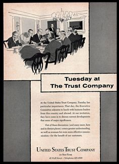 1965 United States #TrustCompany of New York Tuesday #Meeting #Vintage Print #Ad
