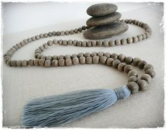 Wooden bead tassel necklace  8mm greywood beads by Brightnewpenny, $25.50