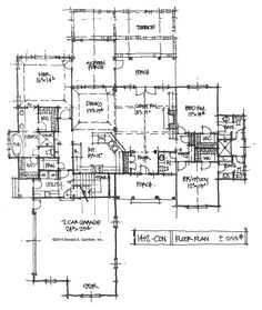 See bathroom layout for kids.  First Floor Plan - Conceptual Design #1412. Family-friendly home plan