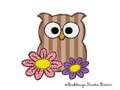 Blumen Eule Ursula. Doodle Stickdatei. Flower owl. Doodle appliqué machine embroidery design.  #sticken #frühling #eulenliebe #owllove #spring