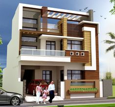House Front Wall Design, Small House Design, Modern House Design, 3 Storey House Design, Bungalow House Design, 20x40 House Plans, House Architecture Styles, Indian House Plans, House Elevation